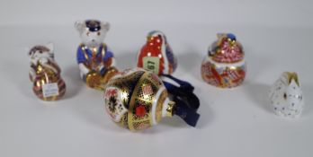 Six Royal Crown Derby Imari paperweights including a bauble, robin, chaffinch, Teddy bear,