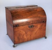 A Victorian dome fronted mahogany stationery box on metal claw and ball feet, 29cm wide x 26cm high.