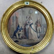 Circle of Bartolozzi, The Courtship; The Proposal, a pair of colour stipple engravings, circular,
