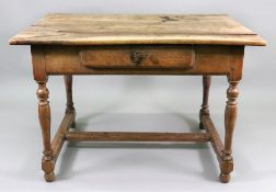 An early 18th century chestnut side table, of late 17th century style,