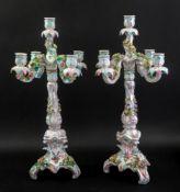 A pair of Sitzendorf five light candelabra, circa 1900,