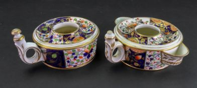 Two Derby 'Japan' pattern inkwells, circa 1815,