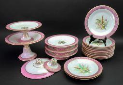 A set of thirteen Royal Worcester porcelain dessert plates, circa 1880,