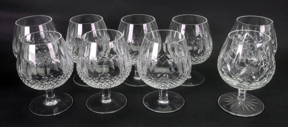 Lot 1 - A set of seven Waterford Colleen pattern cut glass brandy balloons and a pair of Lismore similar