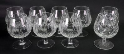 A set of seven Waterford Colleen pattern cut glass brandy balloons and a pair of Lismore similar
