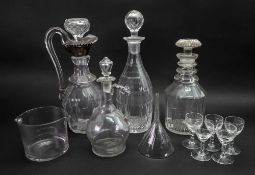 A George III style facet cut glass decanter, 19th century,