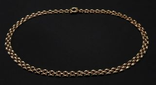 A 9ct gold brick-link necklace, with a fancy bolt ring clasp, length 46cm, 18g.