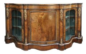 A Victorian figured walnut boxwood strung and inlaid gilt metal mounted credenza, circa 1870,