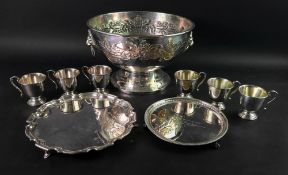 An electroplate punch bowl, in mid 18th century style,