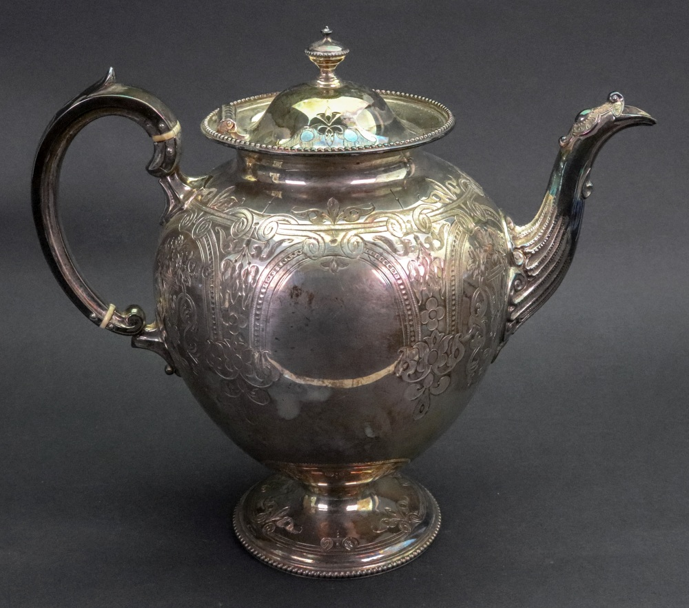 Lot 255 - A Victorian silver baluster shape teapot, Martin Hall & Co, London 1871, retailed by W.
