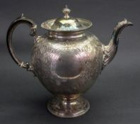 A Victorian silver baluster shape teapot, Martin Hall & Co, London 1871, retailed by W.