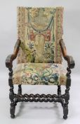 A Flemish walnut frame armchair, late 17th century,