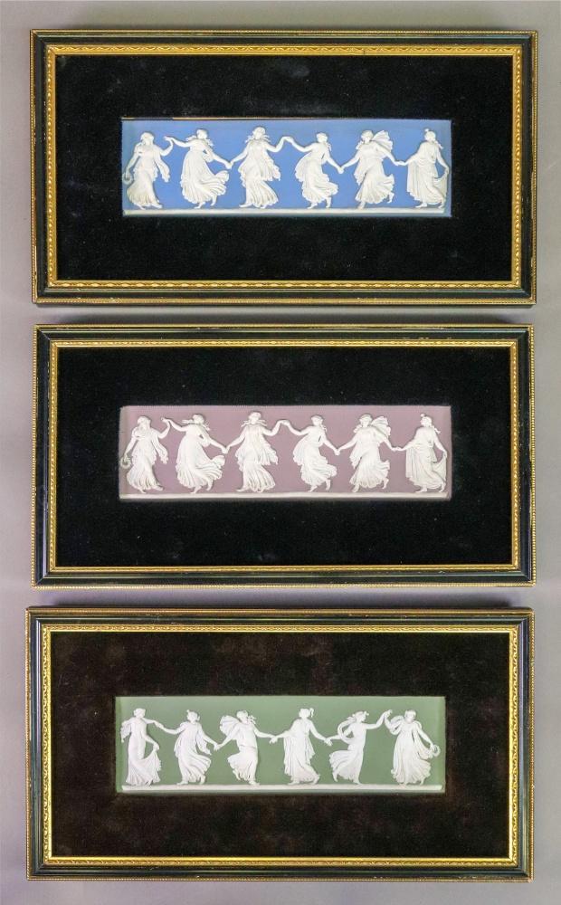 Lot 36 - A set of three Wedgwood jasper dip rectangular plaques, Dancing Hours, each 6.5 x 21.