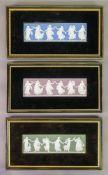 A set of three Wedgwood jasper dip rectangular plaques, Dancing Hours, each 6.5 x 21.