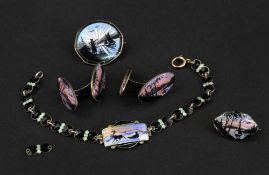A small collection of enamelled silver jewellery,
