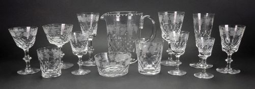 A suite of Edinburgh facet cut and fruiting vine etched glassware, 122 pieces,
