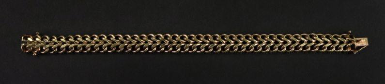 A 9ct gold fancy-link bracelet, of curved design,