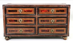 A late 17th century and later Flemish walnut rosewood tortoiseshell veneered and inlaid travelling