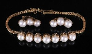 A cultured pearl-set gold bracelet and earring suite,