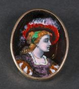 An enamelled brooch,