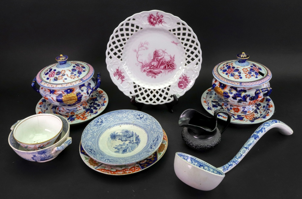 Lot 2 - A group of English pottery and porcelain, 19th century,