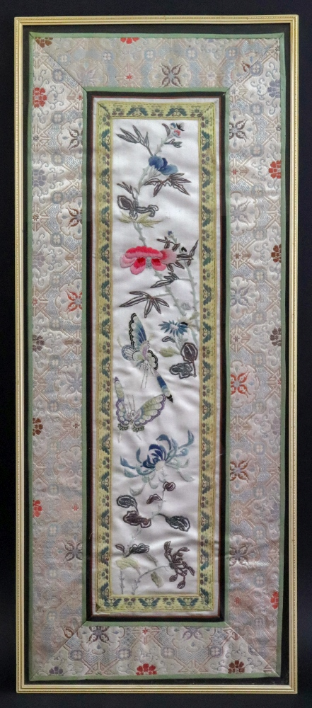 Lot 240 - A Chinese rectangular silk mandarin sleeve panel, late 19th/early 20th century,