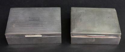 A rectangular silver cigarette box, J.
