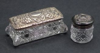 Two Edwardian silver mounted cut glass dressing table boxes, one rectangular, London 1907,