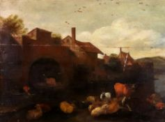 European School, 18th century, Sheep and cattle by a river and buildings, oil on panel, 49 x 66cm.