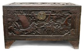 A Chinese camphorwood chest, early 20th century,