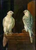 Studio of Miguel Canals (Spanish, 1925-1995), Two birds of prey perched on a ledge,