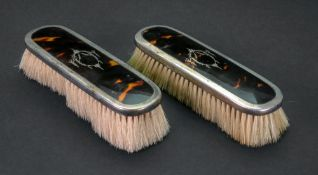A pair of silver mounted tortoiseshell backed clothes brushes, Levi & Salaman, Birmingham 1924,