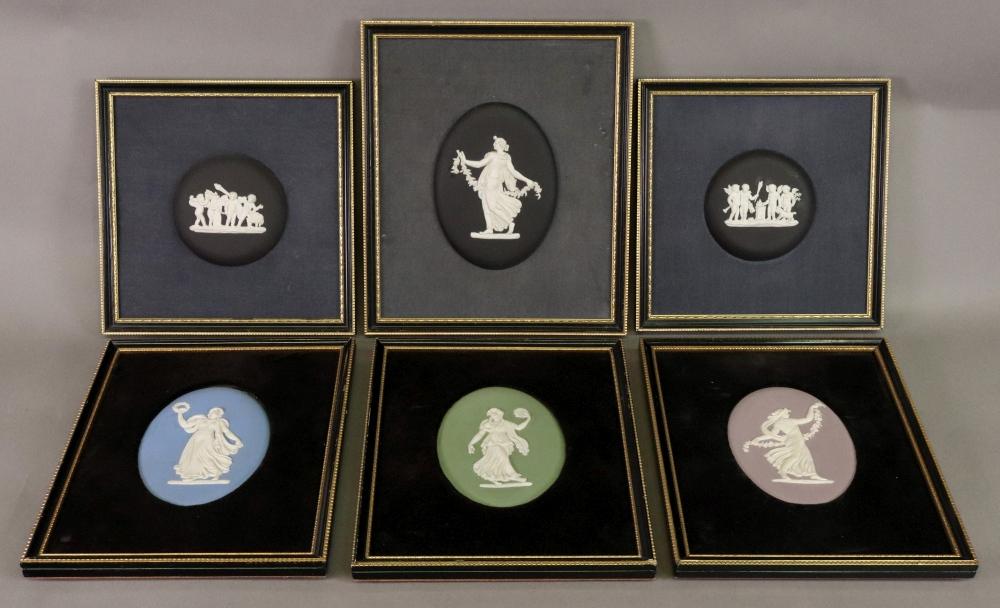 Lot 37 - A set of four Wedgwood jasper dip oval classical plaques, each 12 x 8.
