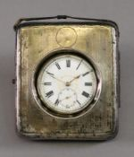 A silver mounted leather covered easel back watch case, Birmingham 1918,