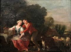 Italian school, 17th century, two lovers in a landscape, bears old label (verso), oil on panel,