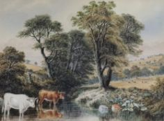 John Lessels (British, 1809-1883), Cattle by a stream in a landscape,