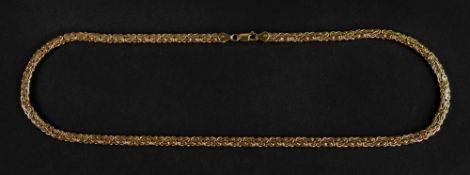A 9ct gold stylised flattened King's braid chain necklace, on a lobster claw clasp, length 50cm, 13.