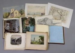 Three albums of 19th century watercolours, pencil sketches and engravings of landscapes,