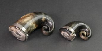 Two Scottish rams horn snuff mulls, 19th century, each with hinged covers,