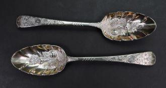 A pair of George III silver table spoons, Paul Storr, London 1817,