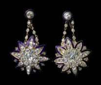 A pair (not matching) of late 19th century 9ct gold and yellow precious metal blue enamelled and