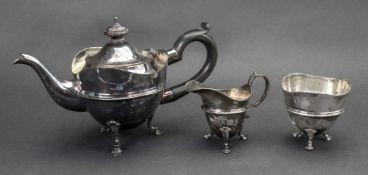 A bachelor's Edwardian silver three piece tea service, Mappin and Webb, London 1908,