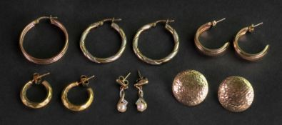 Three pairs of 9ct gold half hoop earrings, a single half hoop earring,