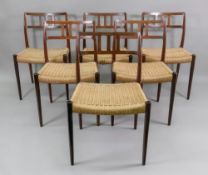 J L Moller Models, Denmark; a set of six rosewood dining chairs,