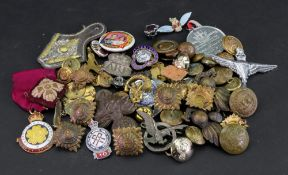 A large collection of Parachute Regiment and other regimental badges, buttons and insignia, an A.R.