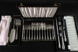 A cased set of six pairs of electroplate Pembury pattern fish knives and forks and matching cased