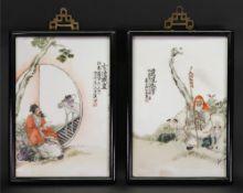A pair of Chinese rectangular ceramic plaques,