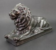 A Teichert-Werke Meissen figure of a lion, with bronze glaze, 26.5cm x 17.5cm.