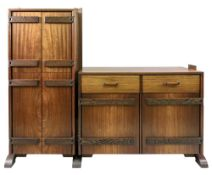 Tory Lichterman - a padouk and wenge drinks cabinet, circa 1988, enclosed by two pairs of doors,