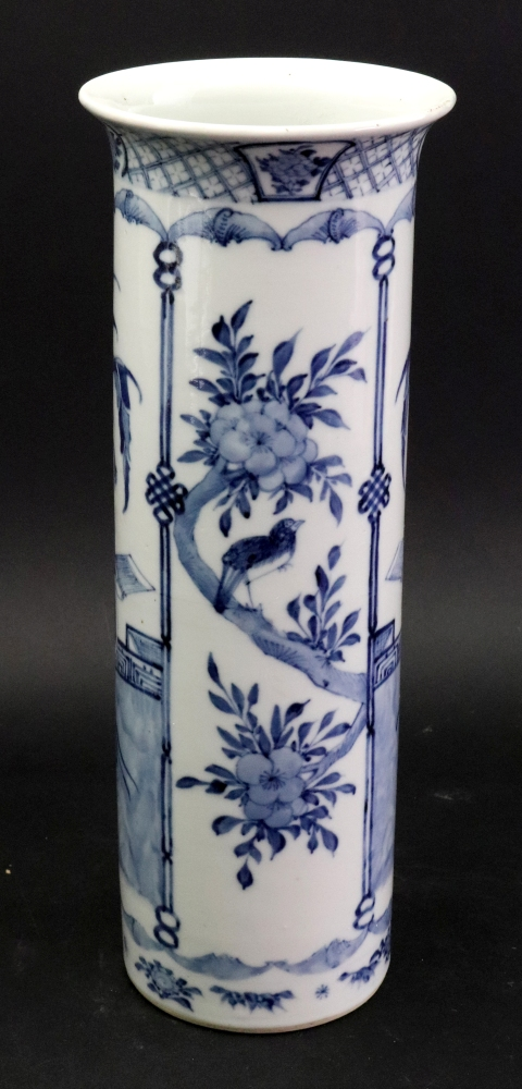 Lot 248 - A Chinese blue and white sleeve vase, late 19th century,
